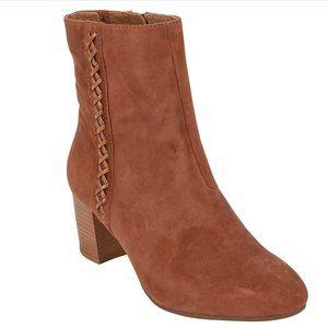 Earth Sparta Bootie Cinnamon Brown Lace Block Heel